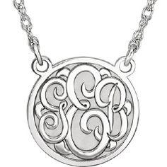 3-Letter Script Monogram Cross Necklace In 10K White Gold