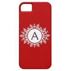 Ornate White Snowflake Monogram on Festive Red iPhone 5 Case