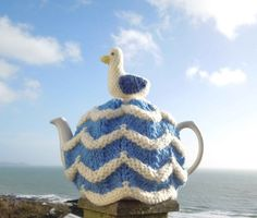 Hand made nautical seagull knitted tea cosy by CraftyCornishMaids