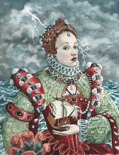 The Armada Portrait (Elisabeth I), by Mark Satchwill--one of my favorite paintings by Satchwill Elisabeth I, Tudor Dynasty, Tudor History, Historical Pictures, Puzzle Art, Queen Elizabeth, Pet Portraits, Painting Inspiration, Art Reproductions