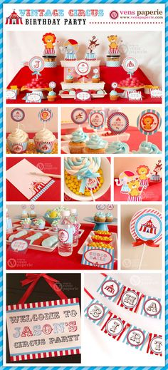 Vintage Blue Carnival Circus  Birthday Party Package