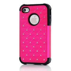 Meaci® Iphone 4 4s Hot Pink&black Case Glitter Studded Diamond Dual Layer Protective Case 1x Diamond Anti-dust Plug Stopper(random Color):Amazon:Cell Phones & Accessories