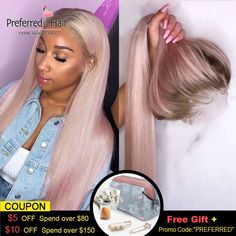 Preferred Ombre Pink Human Hair Wig Purple Straight Lace Front Wig With Baby Hair Brazilian Remy Transparent Lace Wigs For Women Sisterlocks, Locs, Flat Twist, Scene Hair, Love Hair, Gorgeous Hair, Beautiful, Remy Human Hair, Human Hair Wigs