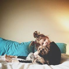a girl and her dog, oh so very cute.