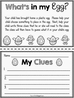 Activity altered for resurrection eggs- writing what the symbol stands for. Fun in First Grade: Educating with Easter Eggs (math stations, ELA stations, extra activities, etc) Kindergarten Writing, Kids Writing, Writing Activities, Kindergarten Crafts, Kindergarten Worksheets, Preschool Ideas, Classroom Fun, Classroom Activities, Easter Activities