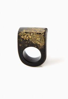 Black & Caviar Gold Lustre Ring by Jade Mellor