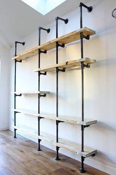 Wood Closet Shelves, Diy Pipe Shelves, Industrial Pipe Shelves, Bookcase Shelves, Wall Shelves, Pipe Shelving, Glass Shelves, Industrial Farmhouse, Wood Closet Organizers