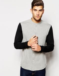 ASOS Jersey Shirt with Contrast Long Sleeves in Grandad Collar