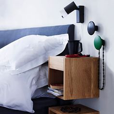 DIY Floating Nightstand Ideas For Space Saving 15 Dots Muuto, Cube Mural, Striped Ceiling, Home Bedroom, Bedroom Decor, Bedroom Ideas, Bedrooms, Night Table, Floating Nightstand