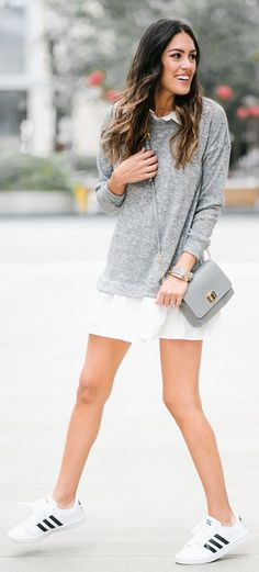Grey Knit / White Oversized Shirt / Grey Leather Shoulder Bag / White Adidas Sneakers