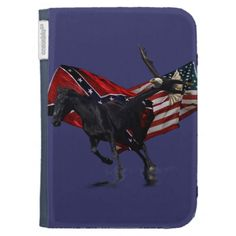 Rebel &  US Flags w Racing Horse and Flying Eagle Kindle Keyboard Case