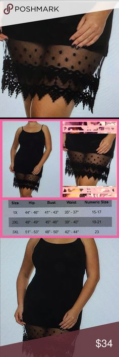 SOON. Black polkadot and lace trim swing tank Available one 3X and one 2X Fashionomics Dresses Midi
