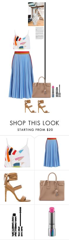 """""""walk in barcelona."""" by zentella ❤ liked on Polyvore featuring Mara Hoffman, MSGM, TIBI, Yves Saint Laurent, Givenchy, MAC Cosmetics, Noir, colors and nude"""