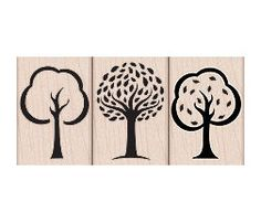 Three Artistic Trees Rubber Stamps - Woodblock Craft Stamp (LP165)