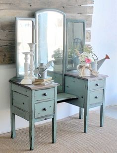 DIY Dressing table ideas - two side tables with cheap mirrors and a small piece of plywood.
