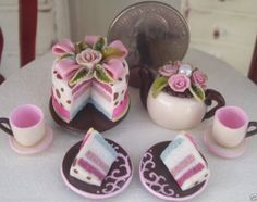 Dollhouse Miniature One Inch Scale Brown and Pink teaset by CSpykersMiniatures
