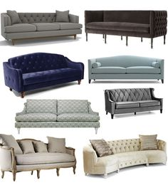 Sofa ideas-- I like the grey and curved ones