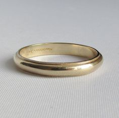 Artcarved J.R. Wood and Sons Classic Wedding Band Ring 14K Yellow Gold, Polished Band with Milgrain Detailing - 1950's - Size 10.75 by Ringtique on Etsy