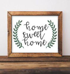 Home Sweet Home - Farmhouse Style Printable Decor, Farmhouse sign, Rustic decor, DIY Home decor, Entryway sign, Living room decor, Gallery wall decor, Gracie Lou Printables