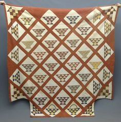 "19th c. baskets quilt cut for four poster bed. 88"" x 91""."