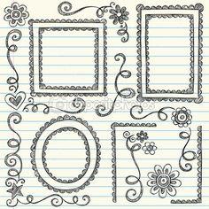 cornici disegnate a mano smerlato doodle e bordo bordi-torna a scuola scarabocchi disegnati a mano disegno gli elementi di stile su illustrazione vettoriale di carta notebook