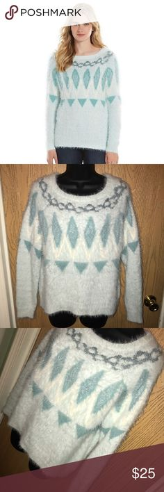 """Fuzzy Fair Isle LC sweater Super cute soft fuzzy fair isle sweater.  ❗️Please no low ball offers.❗️ ❗️Bundles always get a discount.❗️ Please check measurements before purchasing.  Condition: Excellent, used  Measurements- Armpit to armpit: 20""""  Total length: 25""""  Smoke free home but I have a small dog.  Thanks for checking out my closet! ❤️ LC Lauren Conrad Sweaters"""