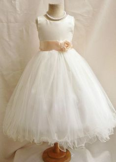 Flower Girl Dresses - IVORY With Peach (FD0FL) - Wedding Easter Junior Bridesmaid - For Children Toddler Kids Teen Girls