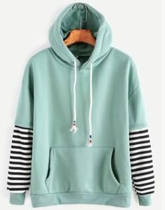 Shop Sleeve Striped Drawstring Hooded Sweatshirt With Pocket online. SheIn offers Sleeve Striped Drawstring Hooded Sweatshirt With Pocket & more to fit your fashionable needs. Green Long Sleeve Shirt, Long Sleeve Shirts, Green Shirt, Hoodie Sweatshirts, Hoody, Sweat Shirt, Sport Mode, Jugend Mode Outfits, Vetement Fashion