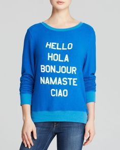 Wildfox   Blue Sweatshirt - Say Hello   Lyst