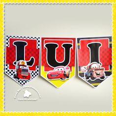 Bandeirola Varal de Letras Carros Disney