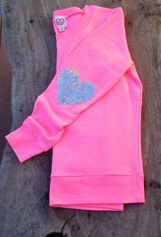 """The """"Dazzle Patch"""" Bright Pink Sweatshirt  w/Heart Sequin Elbow Patch"""