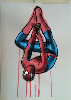 Spiderman Hanging. Acrylic on Cartridge Paper with Digital on top by Chelsie Cater-Tooby
