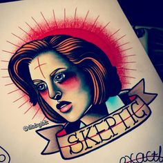 More of my X Files flash, Scully as the Patron Saint of Skepticism.  This and lots more available to be tattooed while guesting; •Occult, Worthing 15th - 20th June •The Circle, London 23rd - 27th  •Colourworks, Dublin 29th June - 4th July  Email me on keelin.cor@gmail.com for bookings /enquiries!  Check out the rest of my work on instagram, @ dinkyink ✌