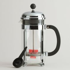 Our 8-Cup Bodum Chambord French Press is one of the most popular choices in the world for easily making fresh-brewed coffee. This carafe is made of heat-resistant borosilicate glass and chrome plated frames, and its three-part stainless steel mesh filter extracts your coffee's essential oils and acids for maximum flavor.
