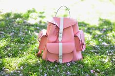 Pink and white leather rucksack by Grafea www.grafea.co.uk
