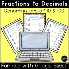 Teach your students to convert fractions to decimals with this engaging math activity! Children should look at the fraction, convert it to a decimal and type the decimal in the box. Grab this hands-on activity now! #fractions #math #digitallearning