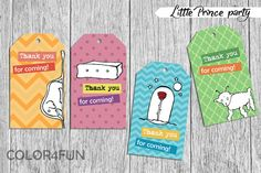 LITTLE PRINCE Favor Tags Thank You Tags  Baby Shower by COLOR4FUN