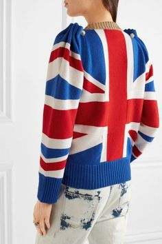 Gucci - Union Jack Embellished Wool Sweater - Blue - xx small