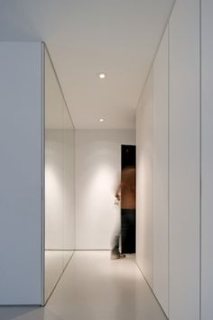 Gallery of Apartment in Carcavelos / Hugo Proenca - 6 White Wardrobe, Wardrobe Closet, Mini Loft, Interior Architecture, Interior Design, Hall Closet, Downlights, Contemporary Interior, Home Living Room