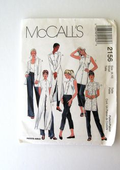 1990s Dress Tunic Blouse Shirt Pattern, McCalls 2156 Womens Duster Sewing Pattern Misses Size Small 8-10 Bust 32.5 UNCUT