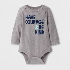 Baby Boys' 'have Courage & BE Kind' Long Sleeve Bodysuit - Cat & Jack Gray 6-9M