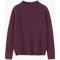 DONEGAL WOOL EVA PULLOVER ❤ liked on Polyvore featuring tops, sweaters, wool sweaters, purple top, wool pullover sweater, woolen sweater and wool tops