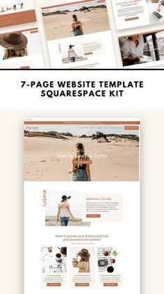 Squarespace Template Kit: Pursue by ProductiveandFree Minimal Web Design, Graphic Design, Design Web, Blog Design, Website Design Inspiration, Ui Inspiration, Portfolio Webdesign, Build Your Own Website, Branding