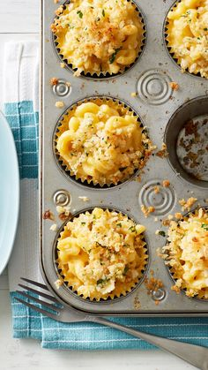 Mac and cheese you can eat with your hands? Sign us up! These muffin-tin mac and cheese cups work equally well on a buffet or in a lunch box. Experiment with different cheeses and Cheese Recipes, Appetizer Recipes, Cooking Recipes, Pizza Appetizers, Cooking Eggs, Yummy Appetizers, Egg Recipes, Muffin Tin Recipes, Muffin Tins