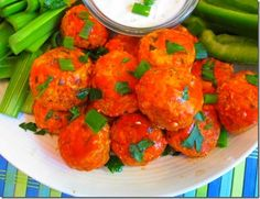 Spicy Buffalo Chicken Meatballs-link to weight watcher themed meals