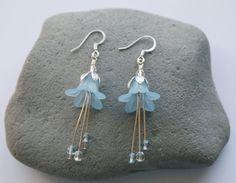 Long Lucite Lily Light Blue Flower Dangle Earrings