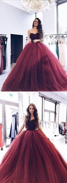 Burgundy Sweetheart Long Prom Dress with Beaded Bodice,Burgundy Tulle Formal Gowns by Miss Zhu Bridal, $179.00 USD