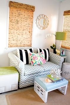 like this loveseat with chevron and stripes.And notice how they use 2 end tables, one in front of the other