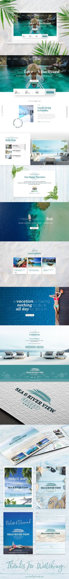 Luxury Tropical Website Design and Branding Identity for Sea and River View Resort.    Bringing the elements of Nature, Nautical, Tropical, Beach, Luxury into this design with the use of great quality photography.    Designed by Bradley Lancaster    Behance Project Link.    https://www.behance.net/gallery/54530345/Luxury-Tropical-Resort-Hotel-Modern-Website-Design    www.bradleylancaster.com    #branding  #clean  #flat  #holiday  #home  #luxury  #modern  page  #resort  #tropical #website #ux…