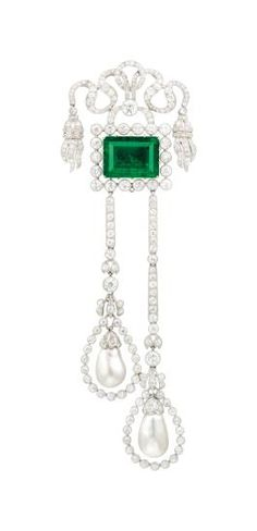 c.1910 Belle Époque Emerald, Natural Pearl and Diamond Brooch